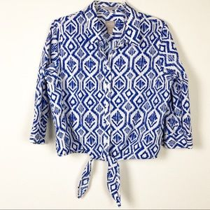 Chico's Pattern Tye Up Blouse
